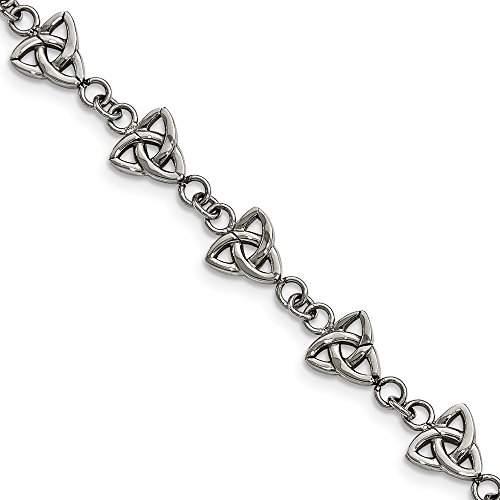 Solid Stainless Steel Trinity Irish Celtic Knot Knot 7in Bracelet - with Secure Lobster Lock Clasp 7'
