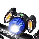 ASUD Luces Bicicleta, USB Recargables Luces de Bicicleta con luz Auxiliar, Luces de Bicicleta Night Riding t6 luz de Bicicleta Faro de Bicicleta de montaña,Azul