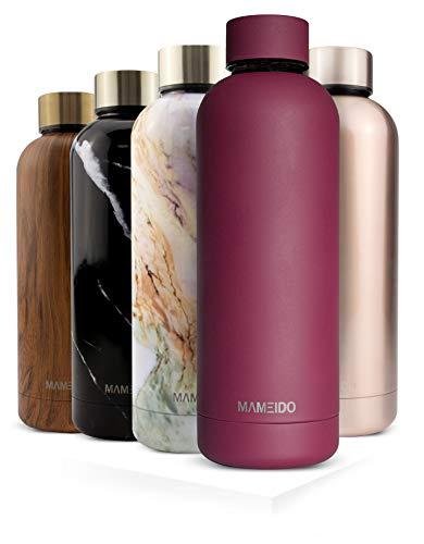 MAMEIDO Trinkflasche Edelstahl - Beeren Rot Matt - 750ml, 0,75l Thermosflasche - auslaufsicher, BPA frei - schlanke isolierte Wasserflasche, leichte doppelwandige Isolierflasche