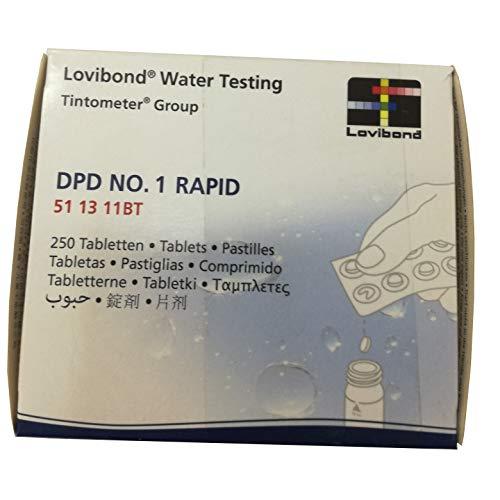 Lovibond Recambio tabletas reactivo medición Cloro Libre DPD 1 Lvd. Recarga 250 UD Rapid/Manual. 51 13 11BT