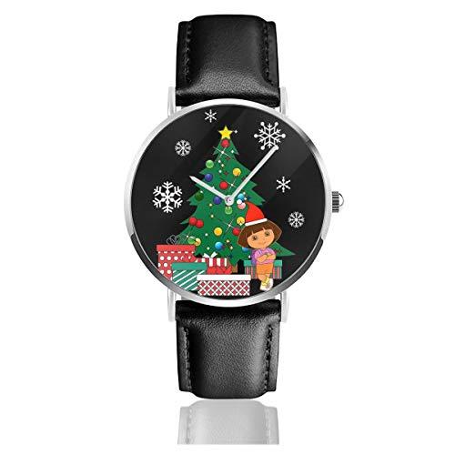 Unisex Business Casual Dora The Explorer Around The Christmas Tree Uhren Quarz Leder Armbanduhr mit schwarzem Lederband für Männer Frauen Junge Kollektion Geschenk