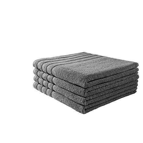 B!HOME 4er Set Duschtücher grau 70x140 Frottier Baumwolle