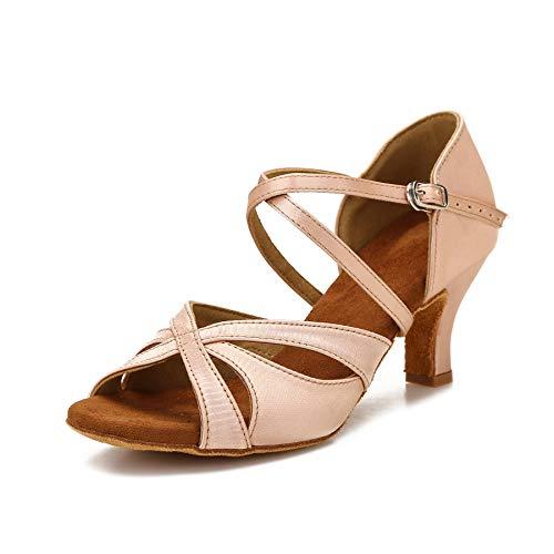 Damen Latin Dance Schuhe Damen Ballroom Salsa Tanzschuhe mit 2,5 Zoll Absatz, (Nude 6,4 cm), 36 EU