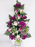 Ramo para Cementerio de Flores Artificiales de Tela para Todos los Santos Medida 60cm. Capullos Rosas (81003)