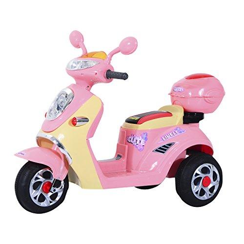 HOMCOM Coche Triciclo Moto Eléctrica Infantil Correpasillos a Batería Niños 3-8 años 6V Metal + PP 108x51x75cm Rosa