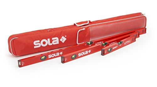 Wasserwaage 60cm /100cm /180cm | Sola Wasserwaage 3er Set | Inklusive Schutztasche mit Außentaschen & Tragegriff | Wasserwaagen mit WFix Meterstab
