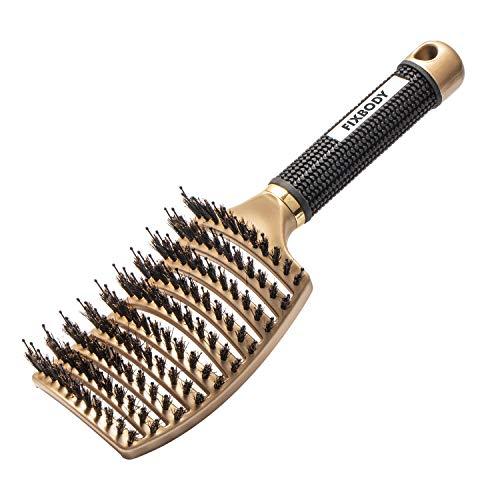 FIXBODY Brosse à cheveux courbée et aérée en poils de sanglier pour femme longue et épaisse, bouclée et emmêlée doré