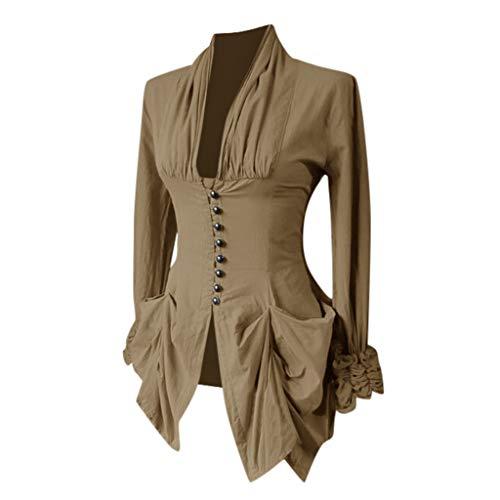 AmyGline Gothic Kleidung Damen Frack Mantel Mittelalter Vintage Retro Asymmetriech Langarm Oberteil...