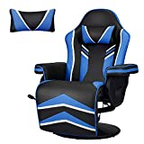 YODOLLA Gaming Chair Recliner Racing Chair with Vibration Massage Function, Ergonomic Adjustable Backrest and Footrest Swivel Faux Leather Computer Office Chair with Cup Holder and Side Pocket, Blue