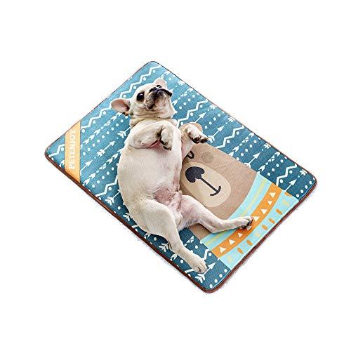 G7N3 Kühlende Haustiermatte Druck Katze Hundebett Matte Langlebige Haustiere Matratze Waschbare Fütterung Matte, rutschfeste und Haltbare Haustiermatte aus Eisseidenmaterial (Bär, M:70 * 50cm)