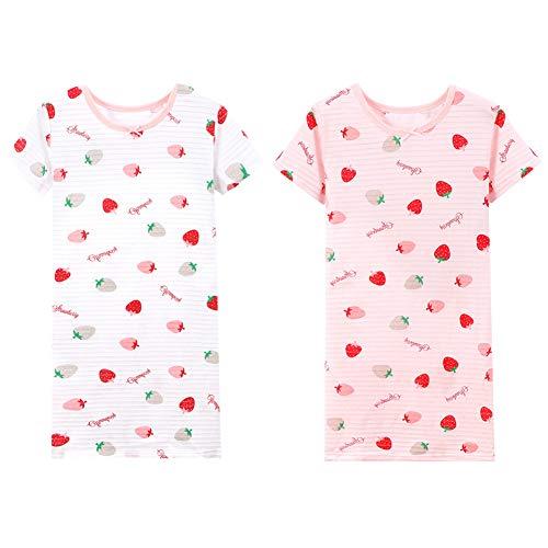 YFPICO Mädchen Nachthemd Süß Baumwolle Kurz Sommer Sleepshirt für 3-14 Jahre für legeres Sleepwearkleid,tägliche Hauptabnutzung, 2 PCS #2, 116