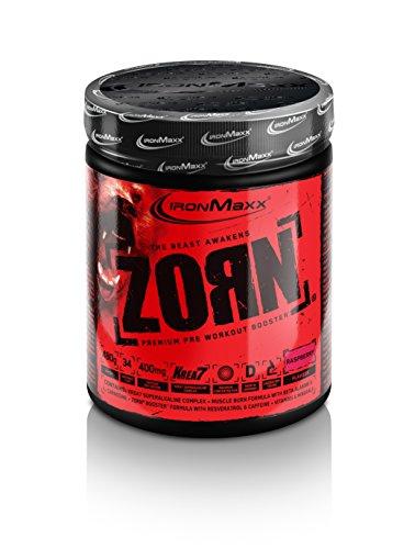 IronMaxx Zorn Powder, Himbeere – Trainingsbooster mit Koffein & der Krea7 Formula für extreme Leistung – Pre Workout Fitness Shake – 1 x 480 g Pulver