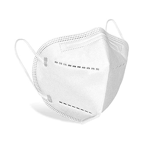 Njoyt Reusable Ear Loop 5 Layer Face Mask, Comfortable Protective, Purifying and Breathable 5 Ply Face Mask, Nose Bridge Clip - White, Pack of 10