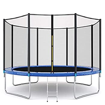 12FT Trampoline for Kids and Adults Indoor & Outdoor Bounce Fitness Trampoline w/ Enclosure Net Jumping Mat and Spring Cover Padding Max 600 LBS Weight Capacity【US Fast Shipment】  12FT