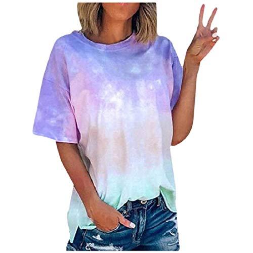 LuckyGirls • • Camisetas para Mujer, Verano Camiseta Costura Cruz de Banda Manga Corta Casual Suelto Blusas Gradiente (Z-Azul, M)