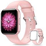 NAIXUES Smartwatch, Reloj Inteligente IP68 para Mujer, Reloj Deportivo con Monitor de Sueño Pulsómetro Podómetro Notifica Whatsapp, Pulsera Actividad Inteligente para Android iOS (Rosa)