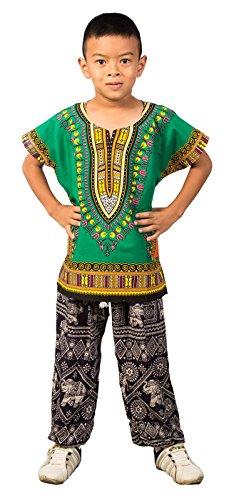 LOFBAZ African Dashiki Shirt for Kids Girls Boys Unisex Clothes Print T-Shirts Little Baby Toddler Dress Up Clothing Green 6-9 Months