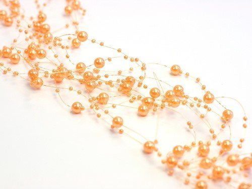 Perlengirlande orange apricot 5 Stück á 1,3m Tischdeko Hochzeit Taufe Weihnachten