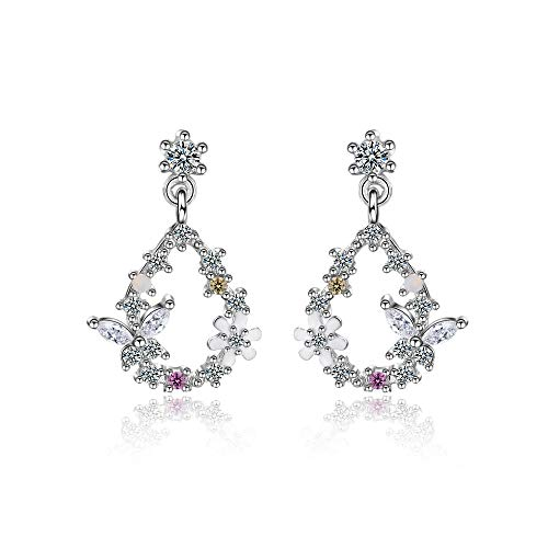 Charmant Silver Color Zircon Butterfly Love Flower...
