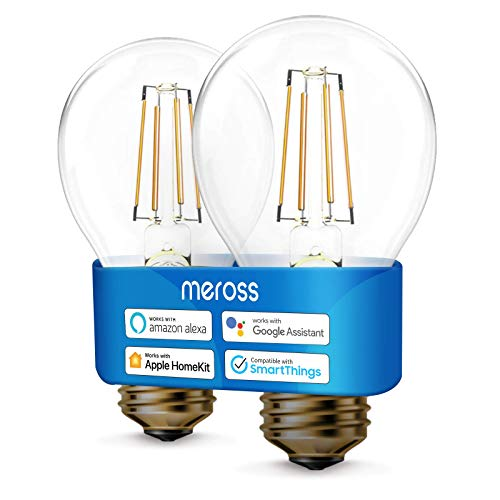 WLAN Edison Vintage Glühbirne funktioniert mit Apple HomeKit, Meross Smart Retro Glühbirne Filament E27 warmweißes Licht kompatibel mit Siri, Alexa, Google Home und SmartThings, 2 Stücke