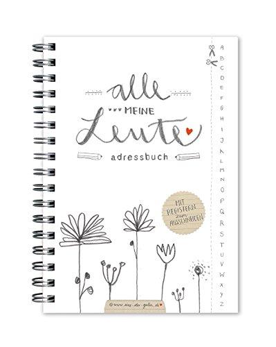 Adressbuch Alle meine Leute im floralen Design, Weiß mit Blumen, flexible Einteilung mit Register zum Ausschneiden, A6
