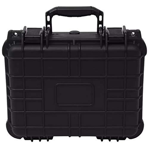 Schutzhülle für Geräte, robuster Koffer mit Schaumstoff zum Tragen von Kamera, Objektiven & anderen Wertgegenständen, Schwarz (35 x 29,5 x 15 cm)