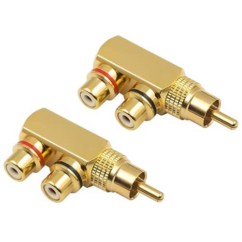 Duttek Adaptador divisor RCA, 90 grados de ángulo recto RCA macho a 2 RCA hembra AV Splitter Adaptador, Jack chapado en oro Audio Video Y Splitter (2 unidades)