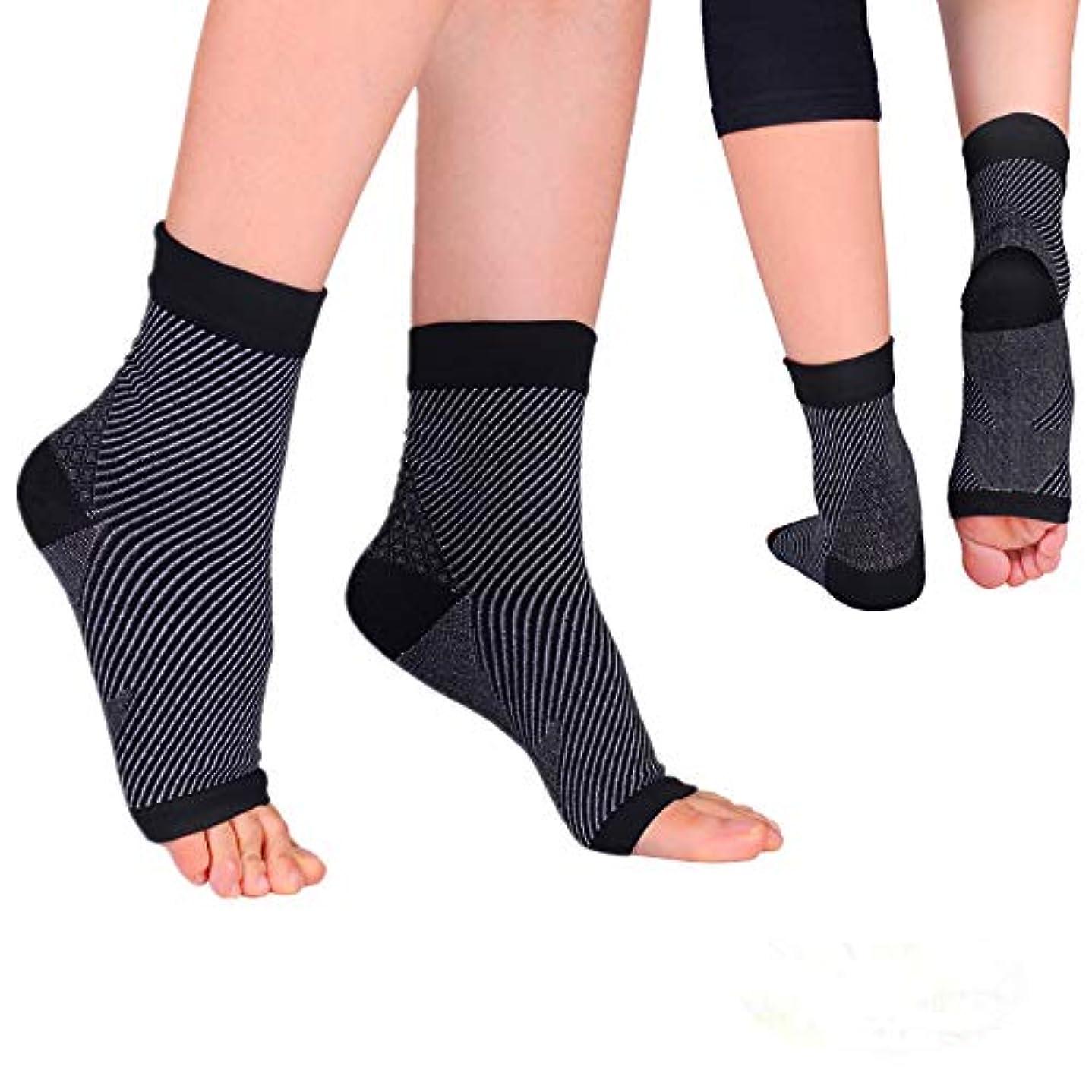 ロック解除フロー声を出して通気性足首ソックス 足 サポーター 足首固定足の腫れを軽減する-2枚組