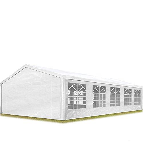 TOOLPORT Tente de réception 5x10 m pavillon Blanc bâche PE épaisse de env. 180 g/m² imperméable Tente de Jardin