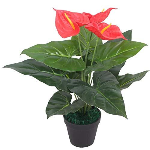 lyrlody- Anthurium Artificial Planta Artificial para Salón u Oficina 45cm de Altura