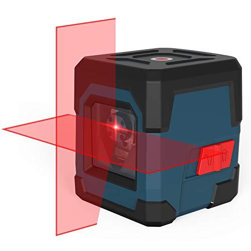 Kreuzlinienlaser, RockSeed Selbstnivellierend Linienlaser 15M ± 0,2 mm/m, 360° Drehbar Magnetische Vertikale/Horizontale Roter Laser IP54 Staub & Wasserschutz inkl. 2*AA Batterien & Schutztasche - LV1