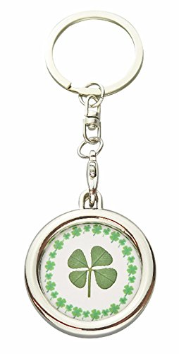 Lucky Real Four Leaf Clover Circle Good Luck Keyring with Certif