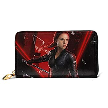 B-lack-widow Genuine Leather Wallet Zipper Womens Fashion Wristlet Purses Bag Phone Credit Multi Card Holder Clutch Organizer Long Ladies Cowhide Wallets