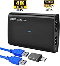YOTOCAP 4K HDMI Input and Bypass USB3.0 UVC Game Capture with Microphone Input, Record up to 1080p 60fps HDMI to USB3.0 UVC Video Capture Card Broadcast Live Stream and Record Grabber Converter
