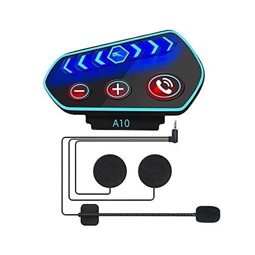 Casco de Motocicleta Auriculares Bluetooth Con Luces, Sonido Profesional Intercomunicador Inalámbrico para Sistema de Comunicación Impermeable Universal Con Asistente de Voz Batería de 2600 Mah