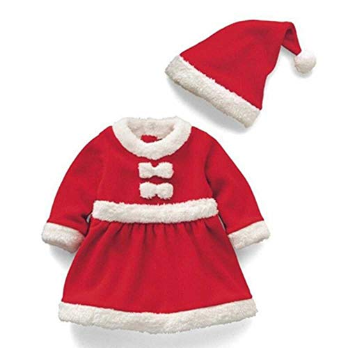 MCSZG Velvet Boys Girls Red Santa Claus Costume Christmas Party Gift Cosplay Clothes Hat Set para niños Niños Vestidos Ropa