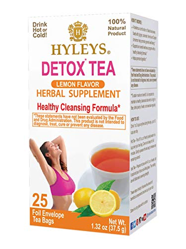 12 Pack Hyleys Wellness Detox Black Tea Lemon 100 Natural