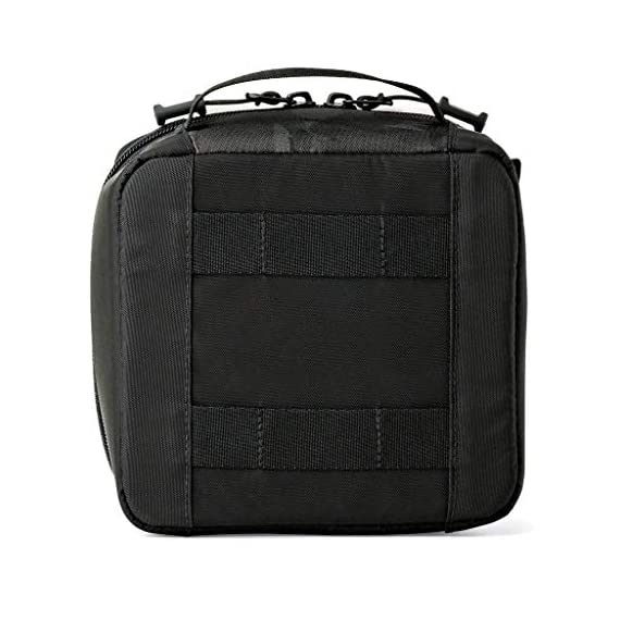 Lowepro LP36915 ViewPoint CS 40 - A Soft-Sided Protective Case for a Smartphone, GoPro or 360 Camera and Accessories… 9 Smart interior organization includes adjustable dividers, three with a built-in pockets to stash a backdoor, filter or remote (and keep it from scratching camera); plus a roomy zippered pocket for cables, backdoors, mounts, tools, manuals, etc.; top panel with built-in memory pockets; plus a padded panel with stretching webbing straps to organize and secure cables and mounts Super-portable design makes it easy to carry in a larger bag or carry by the grab handle. Exterior webbing straps provide extra carry and attach options.
