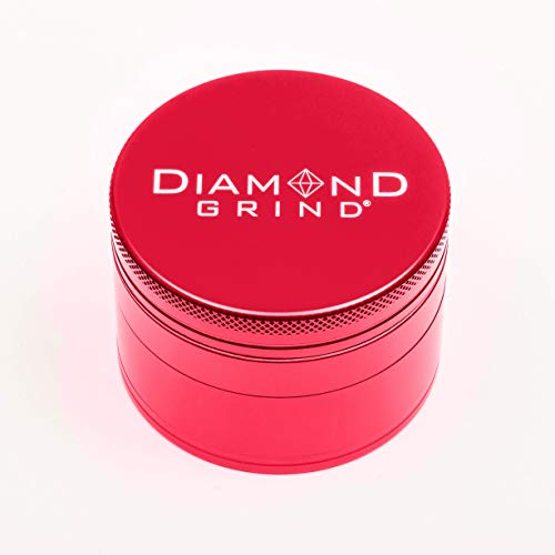 """Diamond Grind 4 Piece Aluminum Herb Grinder with screen 63mm (2.50"""") RED"""