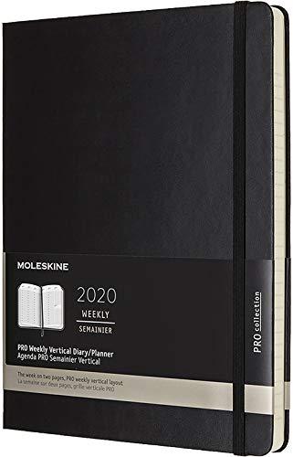Moleskine 12 Mesi 2020 Agenda Settimanale, Copertina Rigida e Chiusura ad Elastico, Colore Nero, Dimensione Extra Large 19 x 25 cm, 288 Pagine