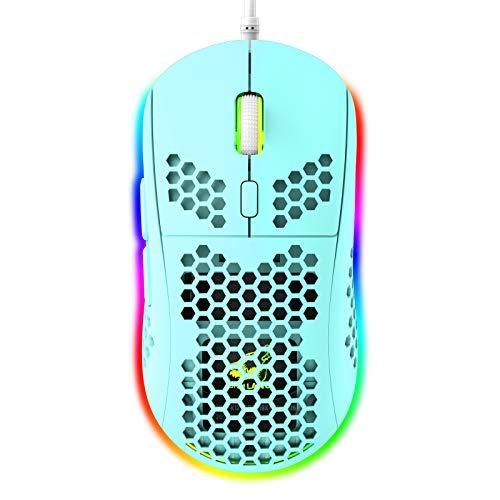RGB Bienenwabe Leicht Gaming-Maus, 6 Programmierbare Tasten, 6 RGB-Hintergrundbeleuchtungsmodi und 6400 DPI Einstellbar, USB-Kabel, Plug & Play, Kompatibel mit Windows, Mac, Laptop, PS4, Xbox Grün