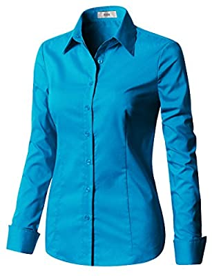EZEN Women's Basic Short Sleeve Button Down Shirts Simple Formal Casual Shirt Blouse