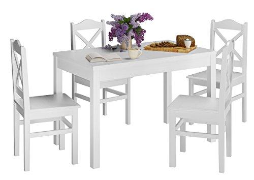 Erst-Holz® Weiße Essgruppe im Shabby-Stil mit Küchentisch und 4 Stühle Massivholz 90.70-51 A W-Set 20