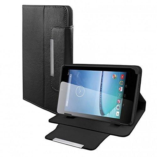eFabrik Universal Tablet Tasche Hülle für Hisense Sero 7+ (7 Zoll) Schutztasche Zubehör Schutzhülle mit Aufsteller in hochwertiger Leder-Optik schwarz