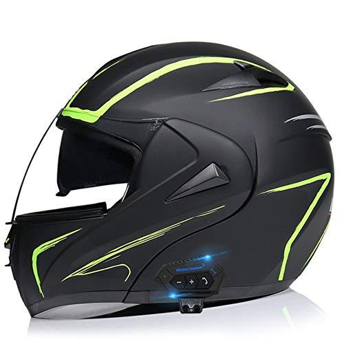 Casco de Moto Modular Bluetooth, ECE/Dot Homologado Casco integrales Moto para Hombre y Mujer, con un Micrófono Incorporado Anti Niebla Visera Doble