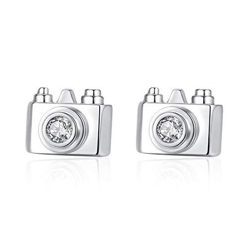 Zirkonia modisch Kupfer einfache Innovation Start 40 Starter-Kamera-Ohrringe Geburtstagsgeschenk Silber 3 A
