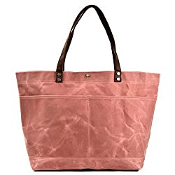 attractive pink waxed canvas tote bag