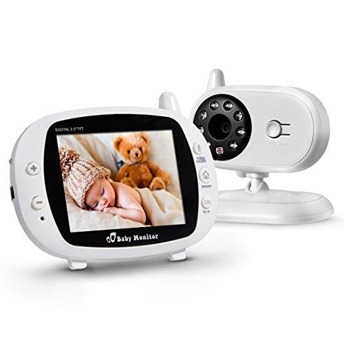 Powerextra Caméra Surveillance Bébé 3.5 Pouces 2.4GHZ Moniteur Bébé sans Fil Vidéo Ecoute LCD TFT Caméra Bébé Numérique avec Vision Nocturne