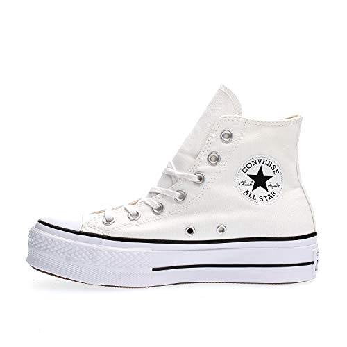Converse Chuck Taylor CTAS Lift Hi, Zapatillas para Niñas, Blanco (White/Black/White 102), 35 EU
