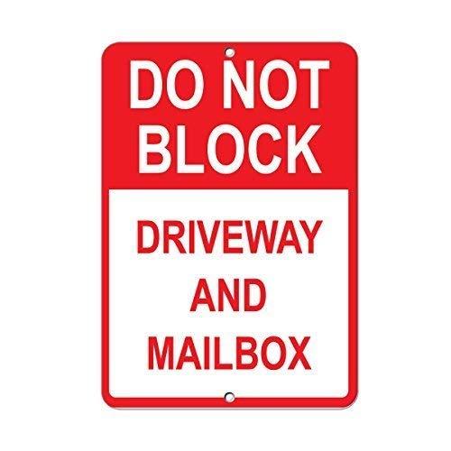 Metalen bord waarschuwing teken niet blokkeren oprit en brievenbus parkeerbord 12x16 inch